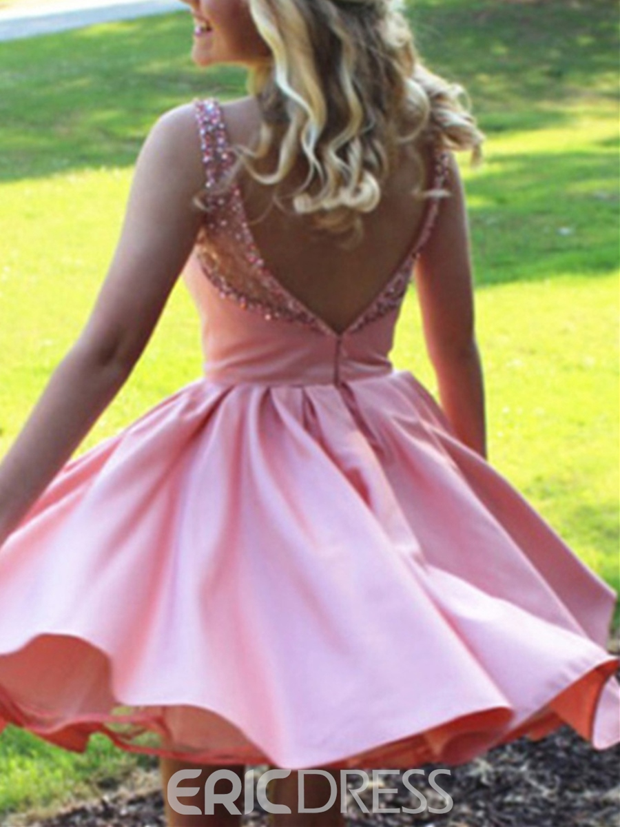 Ericdress Short A-Line Beaded Backless Knee-Length Homecoming Dress