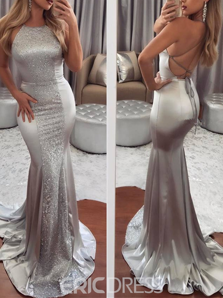 Ericdress Halter Beaded Backless Mermaid Evening Dress