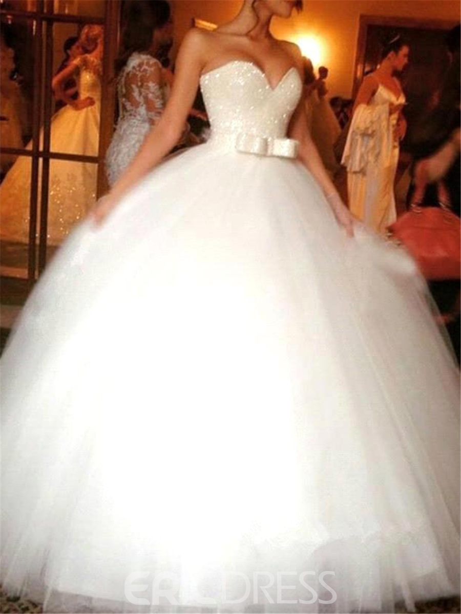Ericdress Beautiful Bowknot Strapless Sweetheart Ball Gown Wedding ...