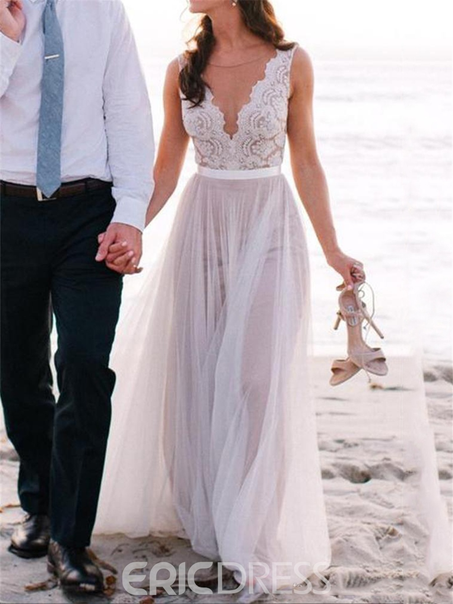 Ericdress beautiful illusion neckline lace a line beach for Lace beach wedding dresses