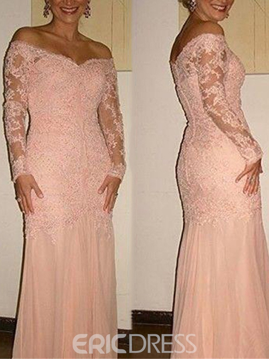 Ericdress Off The Shoulder Long Sleeves Sheath Appliques Mother Of The Bride Dress