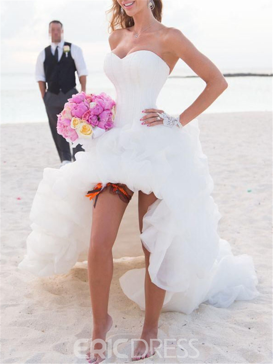 Ericdress Sweetheart High Low Asymmetry Beach Wedding Dress