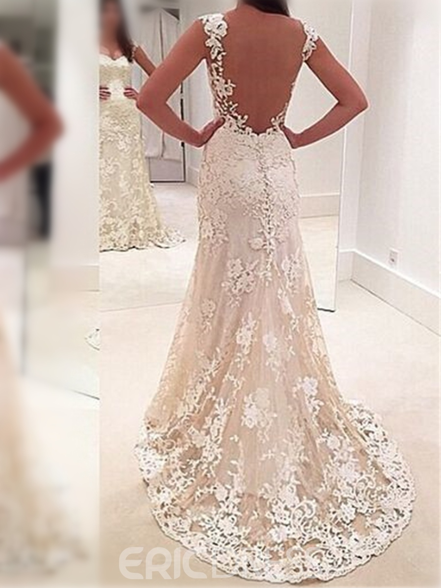 Ericdress Straps Sheer Back Sheath Lace Wedding Dress
