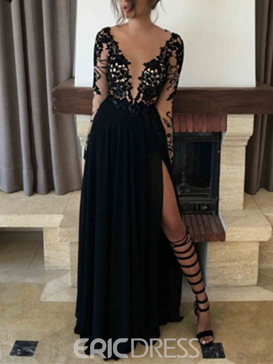 Ericdress Sexy V-Neck Long Sleeves Lace Black Evening Dress With Split-Front