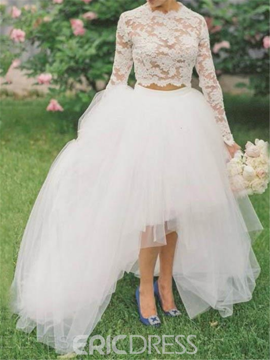 Ericdress Beautiful Lace High Low Two Pieces Wedding Dress