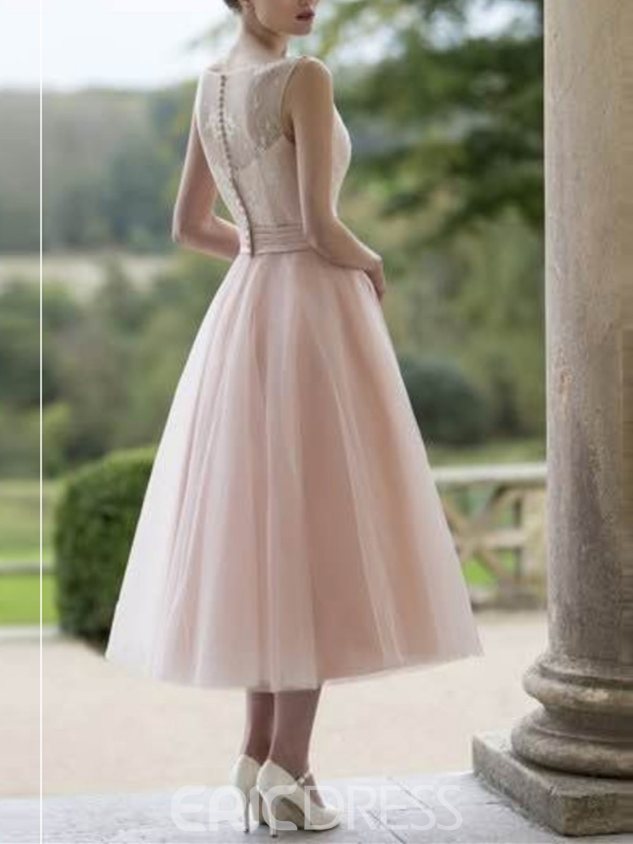 Ericdress A-Line Bateau Button Lace Tea-Length Prom Dress