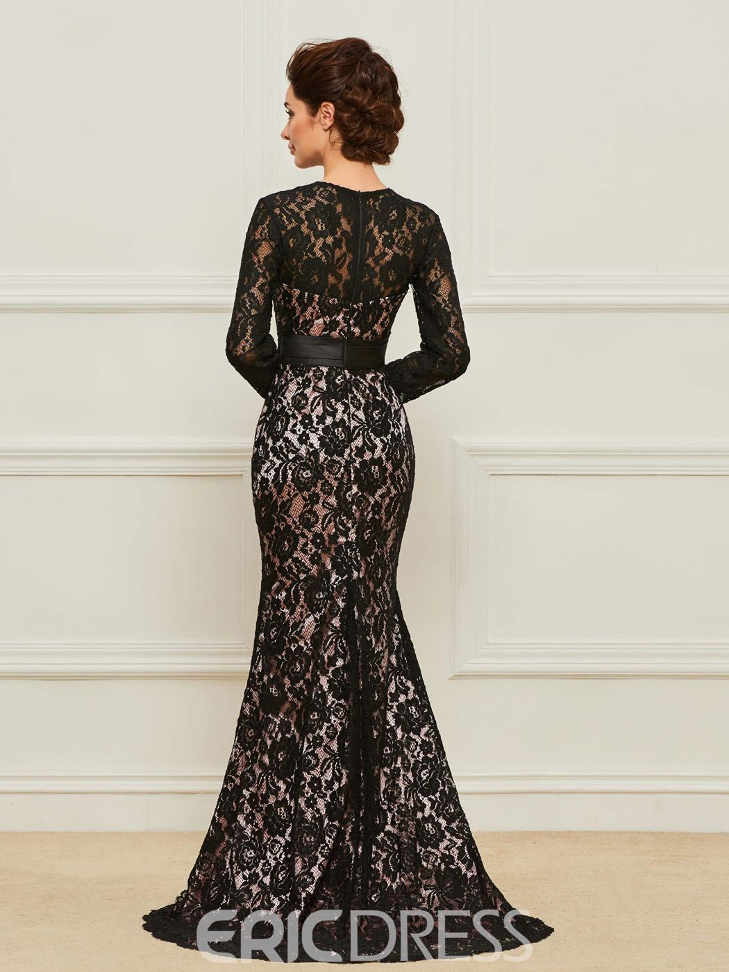 Ericdress Long Sleeve Mermaid Lace Mother of the Bride Dress