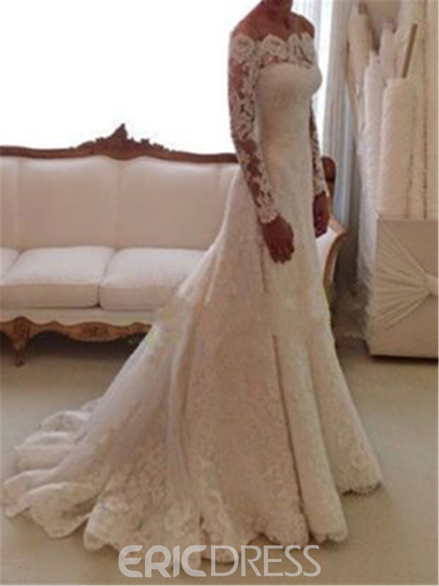 Ericdress Elegant Off The Shoulder Long Sleeves Wedding Dress ...