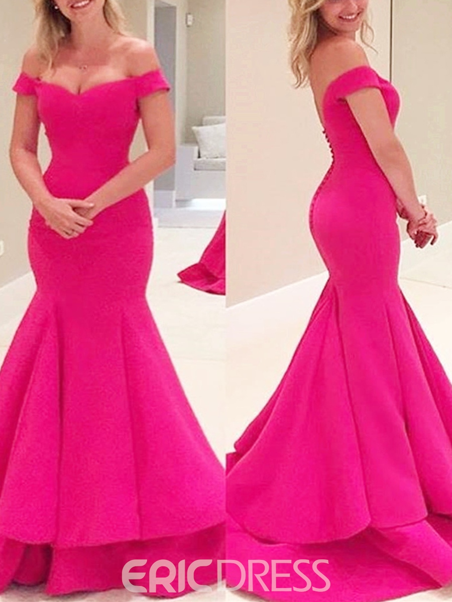 Ericdress Off The Shoulder Cap Sleeve Mermaid Evening Dress With Sweep Train