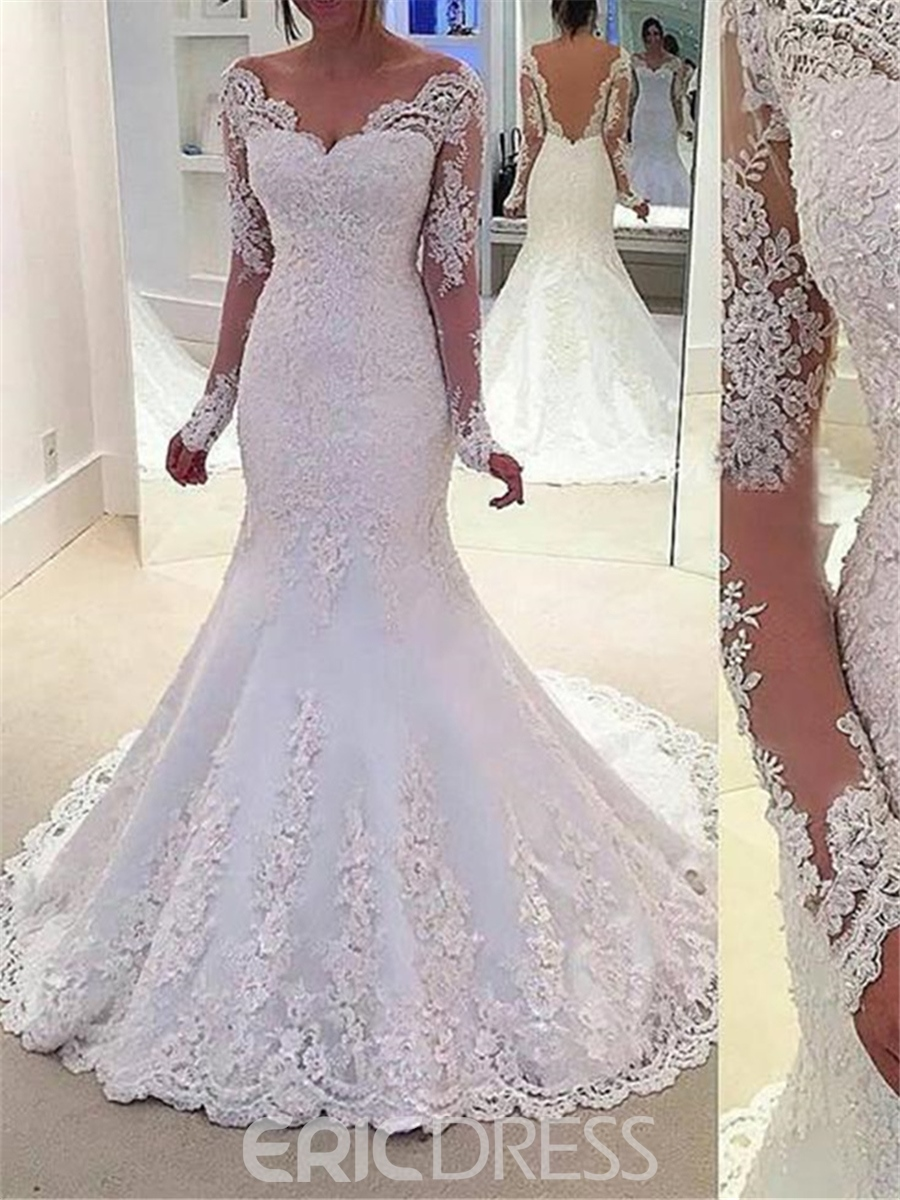 Ericdress Beautiful Beading Long Sleeves Backless Mermaid Wedding Dress 0c8bf5586bec