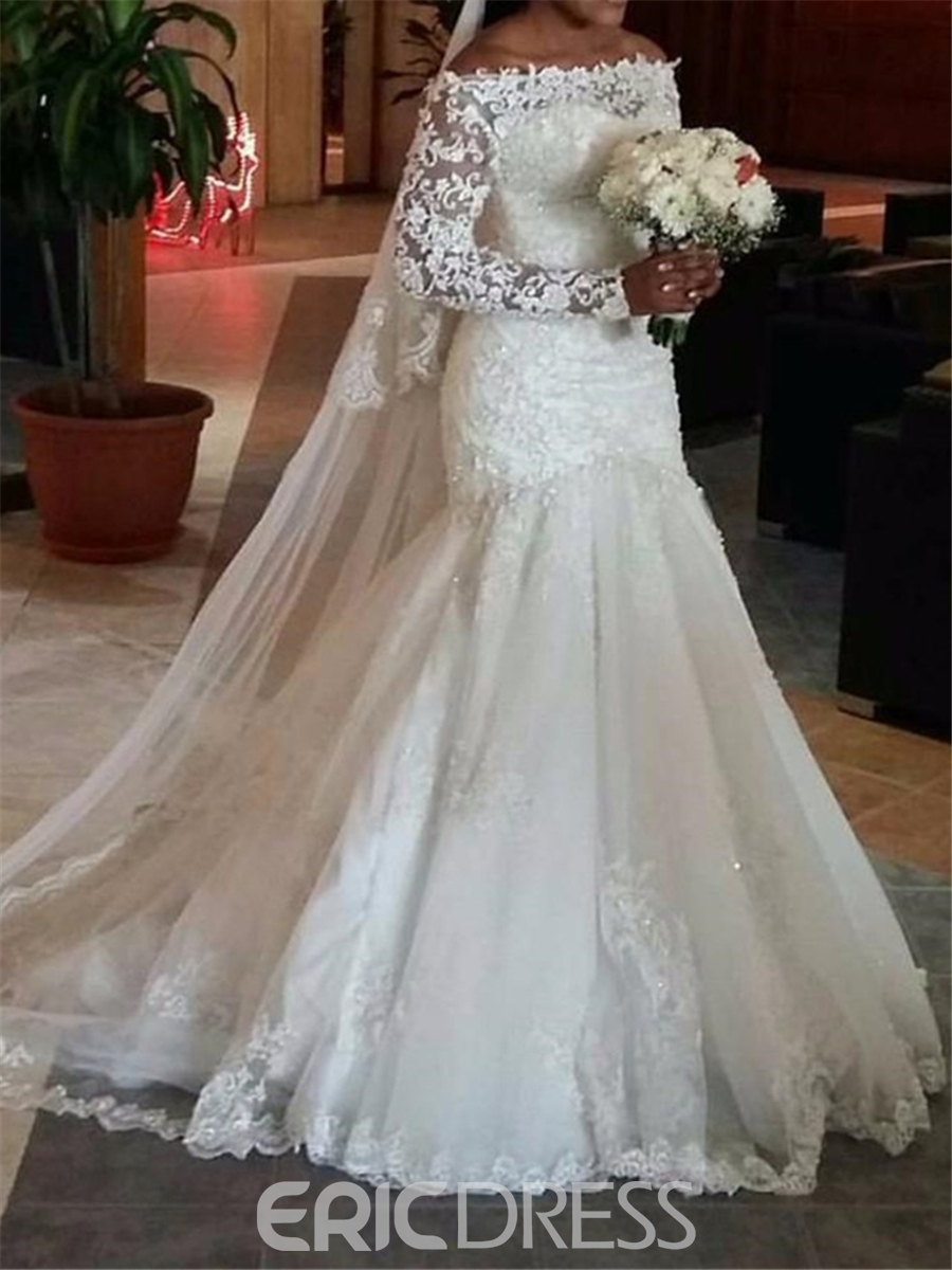 Ericdress Beautiful Long Sleeves Lace Mermaid Wedding Dress