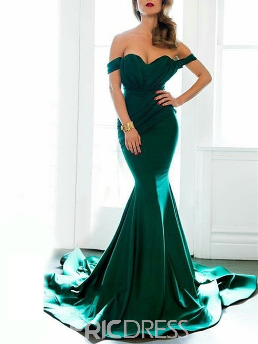 Ericdress Fancy Mermaid Off The Shoulder Cap Sleeve Court Train Evening Dress