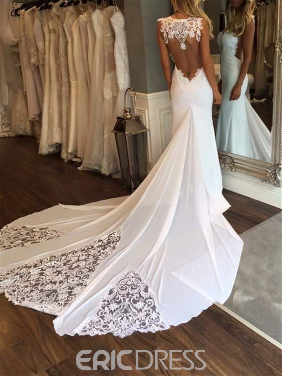 752e4625 Ericdress Sexy Appliques Backless Mermaid Wedding Dress 2019 ...