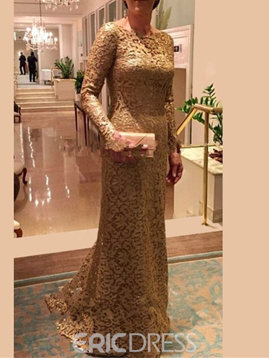 Ericdress Long Sleeve Sheath Lace Mother Of The Bride Dress