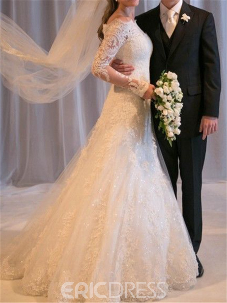 Ericdress Beautiful Off the Shoulder Long Sleeves Wedding Dress
