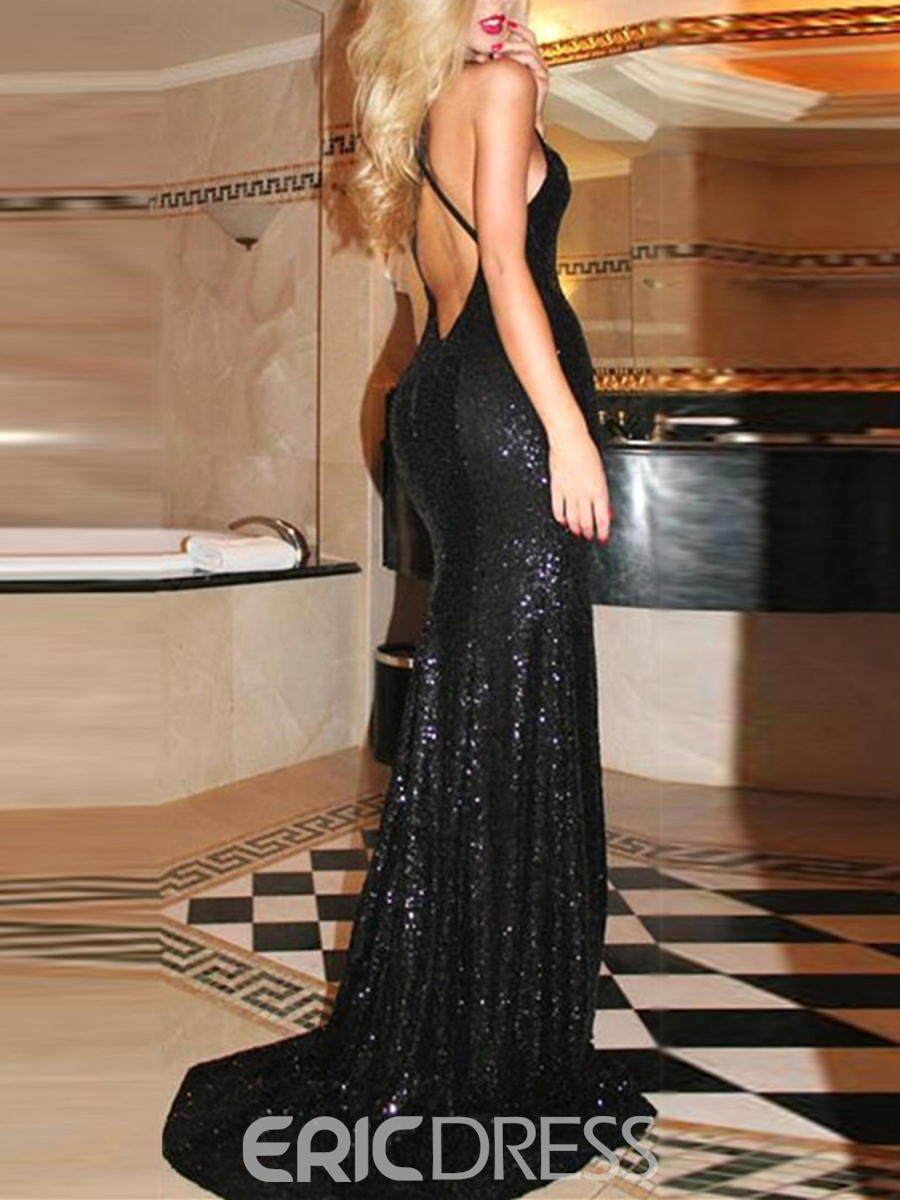 Ericdress Sexy Mermaid Halter Criss-Cross Sequin Sweep Train Evening Dress