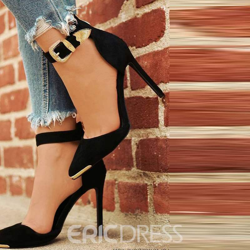 Ericdress Black Buckle Pointed Toe Stiletto Sandals