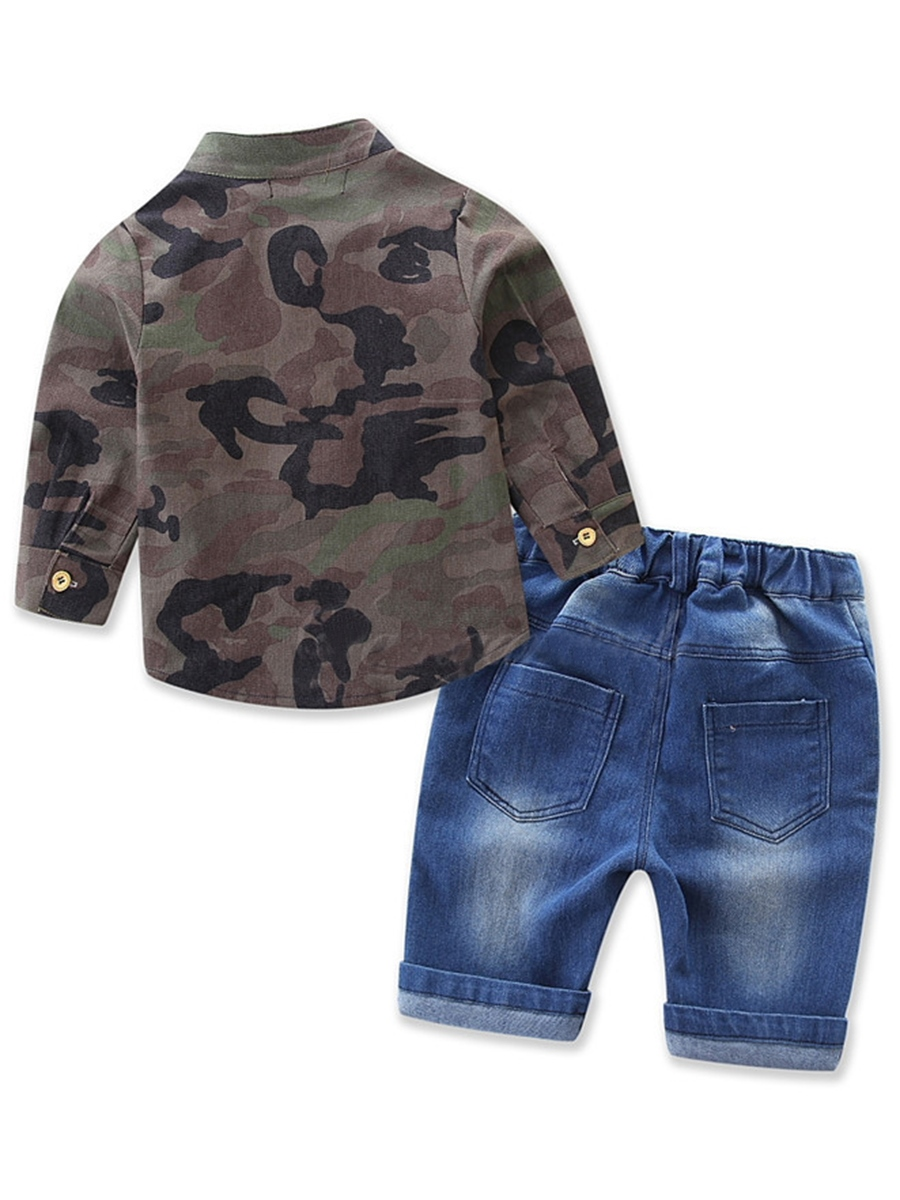 Ericdress Camouflage Shirt with Denim Shorts Boys' Outfit