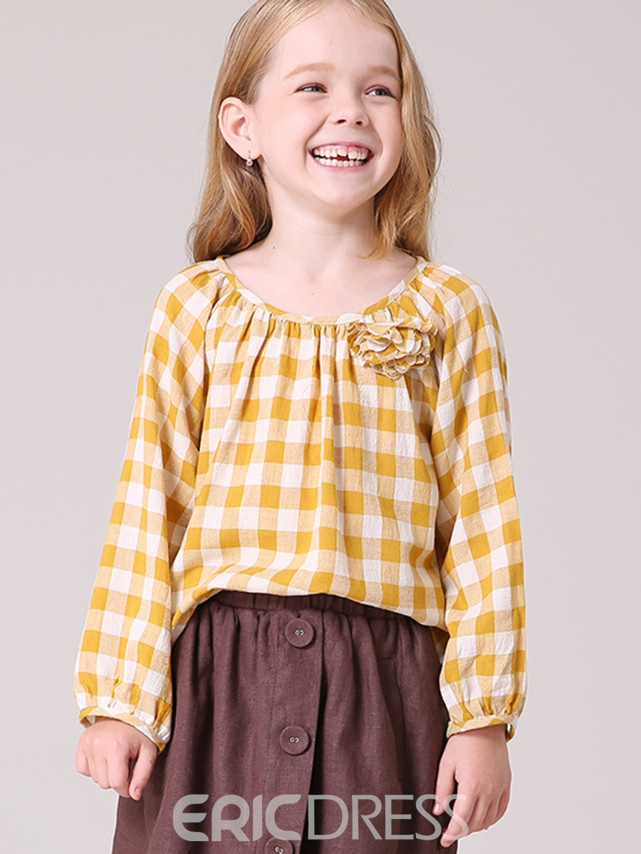 Ericdress Plaid Lantern Sleeve Floral Girls' Blouse