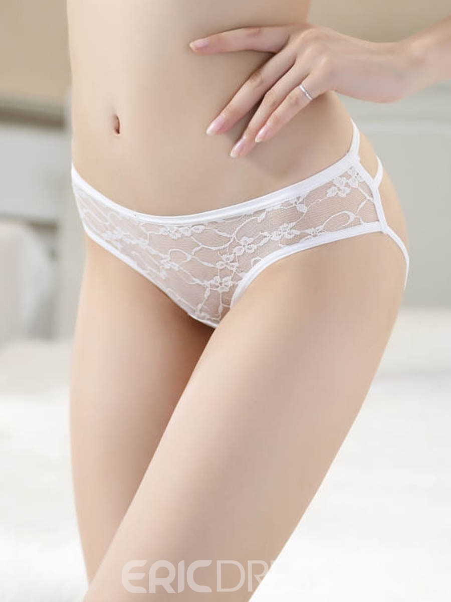Ericdress Plain Triangle Hollow Lace Panty