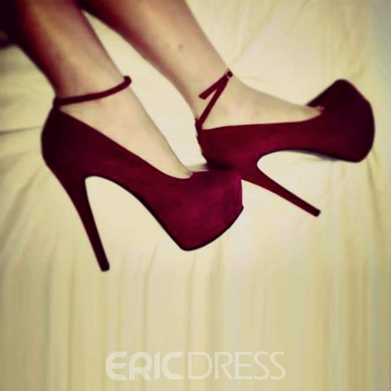 Ericdress Round Toe Platform Plain Stiletto Heel Shoes