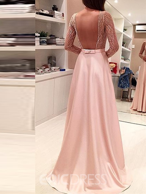 Ericdress A-Line Long Sleeves Beaded Bowknot Backless Evening Dress