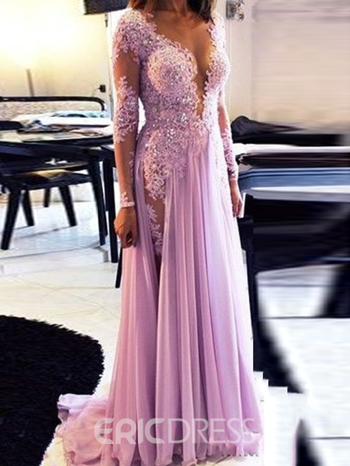 Ericdress A-Line Long Sleeve Evening Dress With Appliques And Beadings