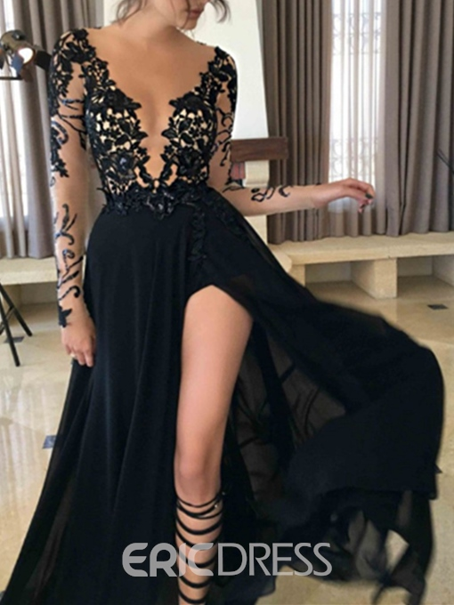 Ericdress Sexy V-Neck Long Sleeves Black Prom Dress