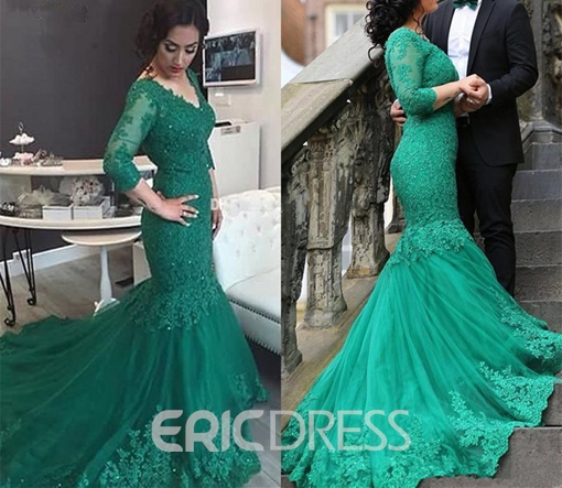Ericdress Graceful 3/4 Sleeve Applique Lace Mermaid Evening Dress