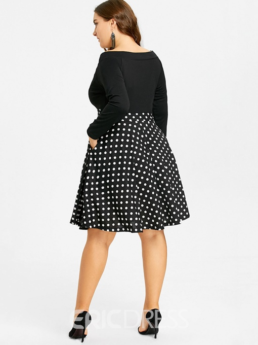 Ericdress Plus Size Knee-Length Off Shoulder Zipper Polka Dots Dress