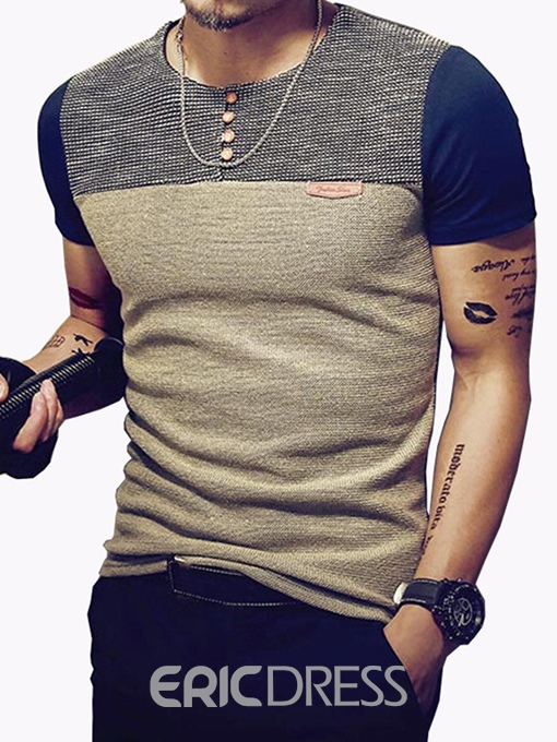 Ericdress Patchwork Color Block Slim Mens T-shirt