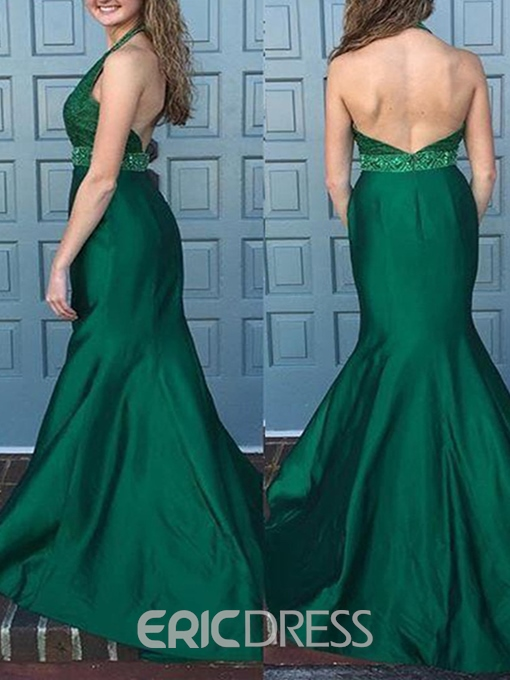 Ericdress Halter Beaded Waistline Backless Mermaid Evening Dress