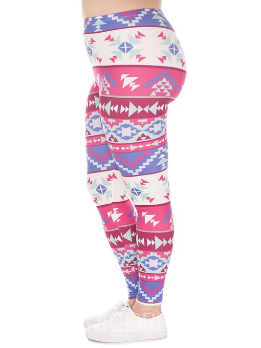 Ericdress Plus Size Geometric Print Color Block Leggings