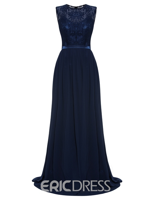 Ericdress A Line Beaded Scoop Neck Lace Evening Dress