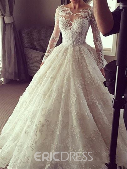 Ericdress Long Sleeves Button Ball Gown Wedding Dress 2020