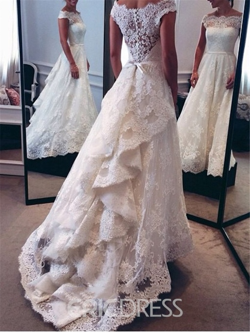 Ericdress Off the Shoulder Button Lace Wedding Dress