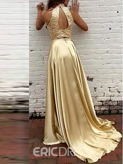 Ericdress High Neck A-Line Sequins Two Pieces Evening Dress With Court Train
