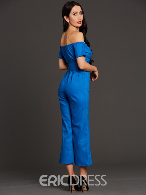 Ericdress Denim Zipper Wide Legs Lace-Up Jumpsuit