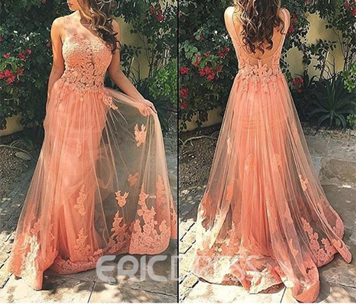 Ericdress A-Line Straps Lace Appliques Sweep Train Long Prom Dress
