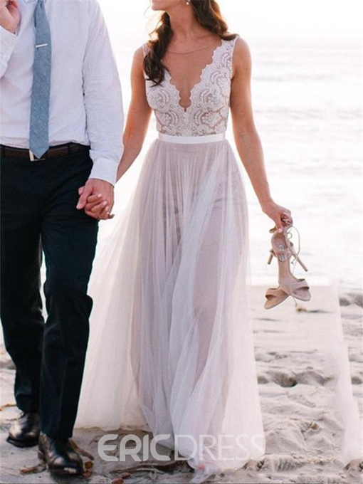Ericdress Beautiful Illusion Neckline Lace A Line Beach Wedding Dress