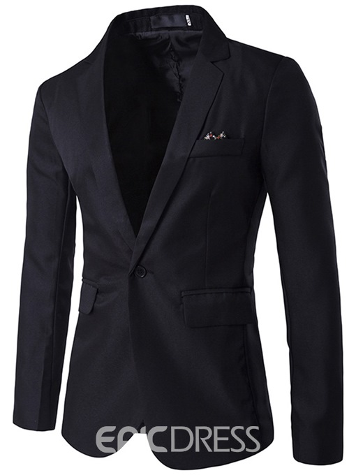 Ericdress Notched Lapel Slim Men's Plain Blazer