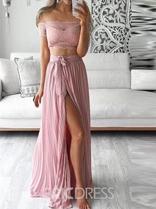 Ericdress Off-The-Shoulder 2 Pieces Lace Prom Dress