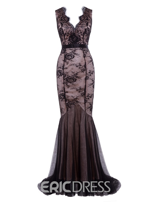 Ericdress A Line Deep V Neck Backless Lace Evening Dress