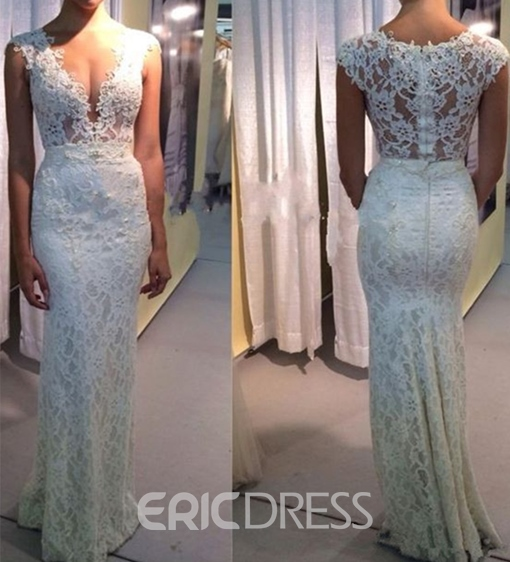 Ericdress Sheath V-Neck Lace Garden Wedding Dress 2019