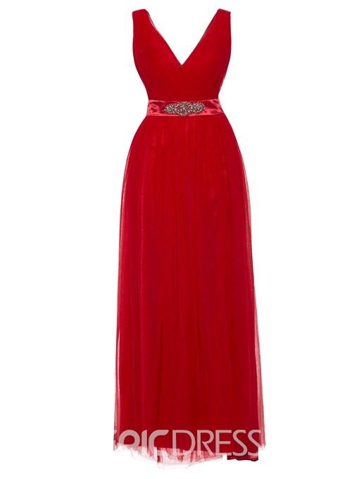 Ericdress V Neck Split-Front A Line Evening Dress With Beadings