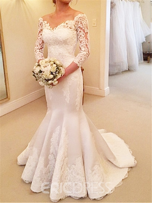 Ericdress 3/4 Length Sleeve Mermaid Wedding Dress With Sleeves