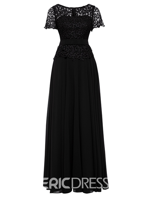 Ericdress Scoop Neck Short Sleeves Lace Evening Dress