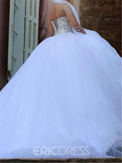 Ericdress Illusion Neck Beading Wedding Dress with Long Sleeves