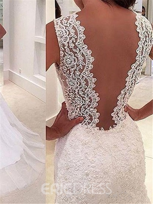 Ericdress Deep V Neck Appliques Mermaid Wedding Dress