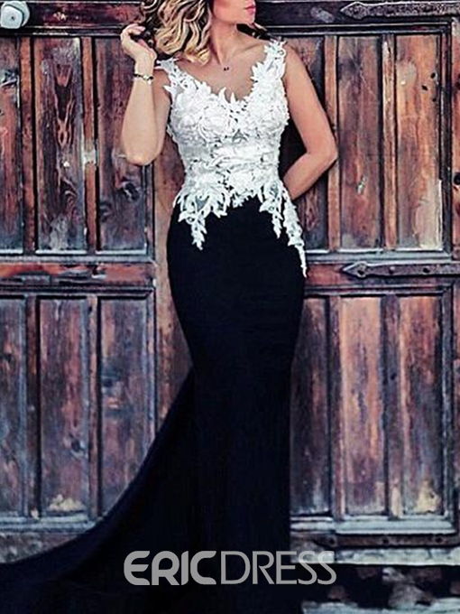 Ericdress Fancy Mermaid V-Neck Appliques Sweep Train Evening Dress